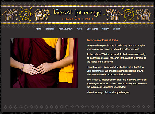 Kismet Journeys web page